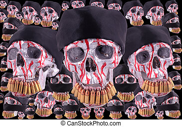 skulls - Mummed human skulls with a black scarf, cartridges...