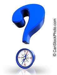 questionmark and compass blue symbol on white...