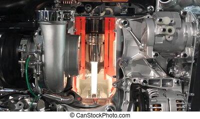 pesado, motor, camión, detalle