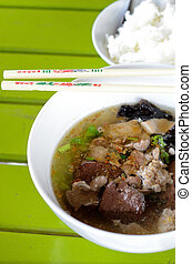 Pork soup - Close-up of pork organ soup