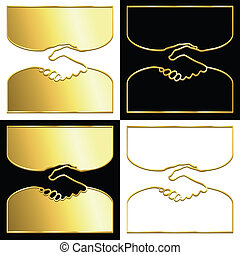 Golden handshake - Variations of a handshake symbol in gold.