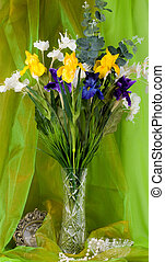 spring flowers in a glass vase