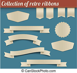 Collection of vector retro ribbons and tags - Set of vector...