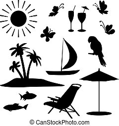 Summer objects - Set objects represent summer, exotic and a...