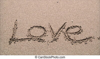 "word ""love"" in the sand"