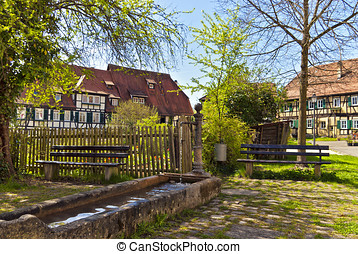 Village, watering place and pump - Idyllic place in the...