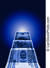The money the way - Hundred dollars on a dark blue art...