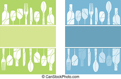 Menu backgrounds set - A pair of blue and green menu...