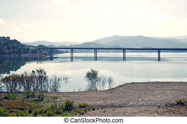 Lake  with a bridge