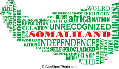 map of unrecognized Somali-land - Vector word map of...