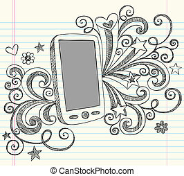 Cell Phone PDA Sketch Doodle Vector - Hand-Drawn Mobile Cell...