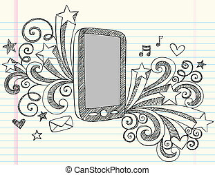 Cell Phone Sketchy Doodle Vector - Cell Phone Mobile PDA...