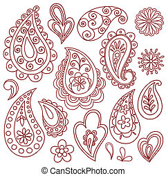 Henna Mehndi Tattoo Doodles Vectors - Hand-Drawn Henna...