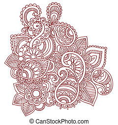 Henna Mehndi Tattoo Doodles Vector - Hand-Drawn Abstract...