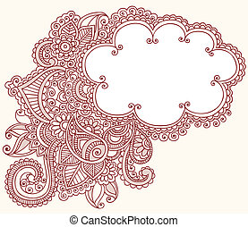 Henna Mehndi Tattoo Doodles Cloud - Hand-Drawn Cloud Shaped...