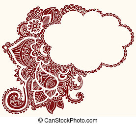 Henna Mehndi Tattoo Doodles Cloud - Hand-Drawn Henna Paisley...