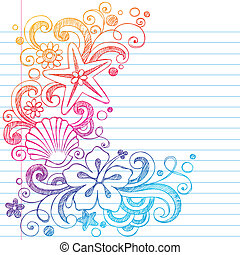 Summer Hawaiian Beach Doodle Vector - Hibiscus and Starfish...