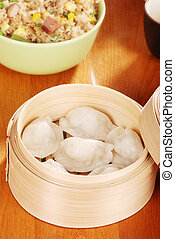 Dumpling in bamboo basket