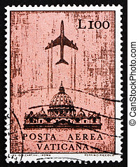 Postage stamp Vatican 1967 Jet over St. Peter?s Cathedral -...