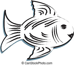 Black And White Fish - simple drawing of a black and white...