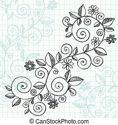 Sketchy, griffonnage, vignes, vecteur, conception