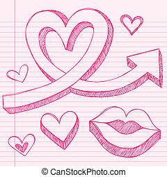 Sketchy Heart Arrow Vector Elements