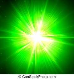 green light - abstract white light rays over green...