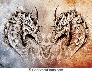 Tattoo art, fantasy medieval dragons heart