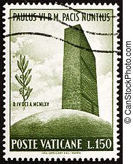 Postage stamp Vatican 1965 UN Headquarters and Olive Branch...
