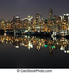 Vancouver, centro cidade, noturna, Canadá, BC
