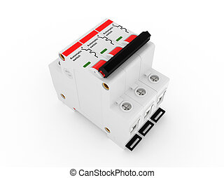 Automatic electricity switch 3d model isolated on a white