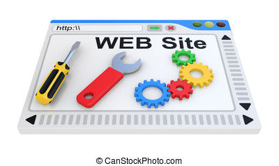 Website is under construction 3D Illustration on a white...