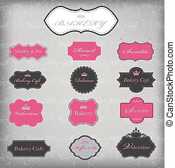 Vector set of 13 vintage frames, EPS 10 vector