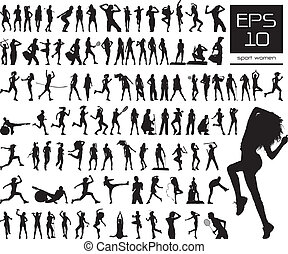 sport women silhouettes - Vector set of 100 very detailed...