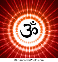 om symbol over rays - black om symbol over red lightrays