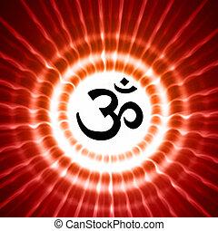 símbolo,  Om, rayos, encima