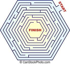 Zeshoekig, doolhof, -, labyrint