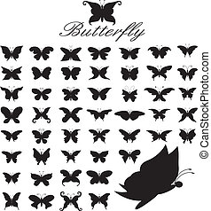 set of 50 butterflies.