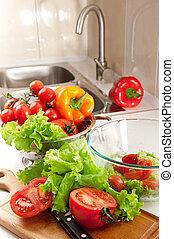Salad preparing - Lots of fresh vegetables for salad...