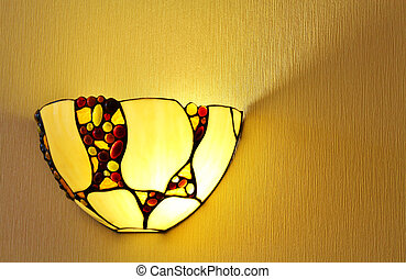 lamp on the wall - Yellow lamp on the wall applique on...