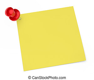 pin notepaper - red pin and notepaper on white background