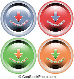 Four multi-colored buttons download on a white background