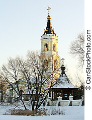 Winter landscape with church - Old orthodox church in the...