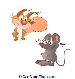 Funny little squirrel and mouse