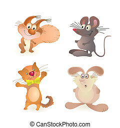 Funny little squirrel, mouse, cat a