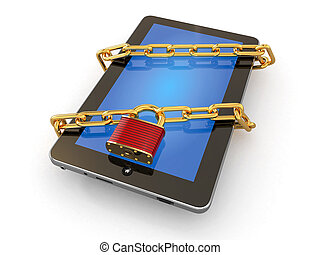 Tablet pc security Chain with lock on computer 3d