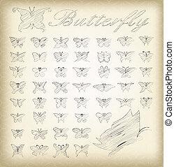 set of 50 butterflies.