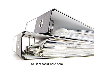two office folders - two black office folders with documents...