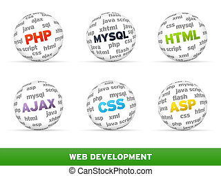 Web Development - 3D Sphere Web development set on white...
