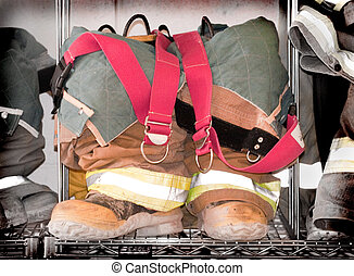 Fireman's Boots - Fireman's suit with boots, overalls, and...